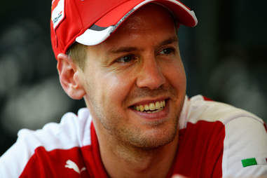 Sebastian Vettel at a Ferrari Press Event