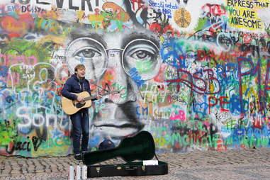 John Lennon wall street art in Prague, Czech Republic
