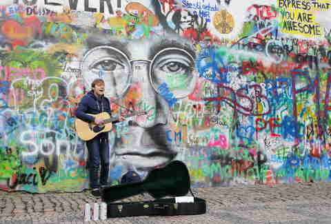 John Lennon wall street art in Prague, Czech Republic