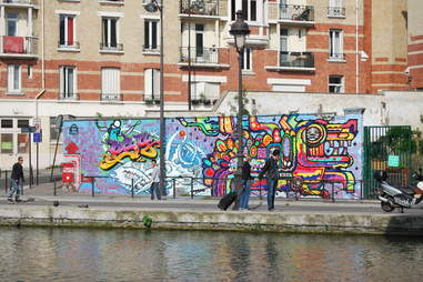 Canal de l'Ourcq street art in Paris, France
