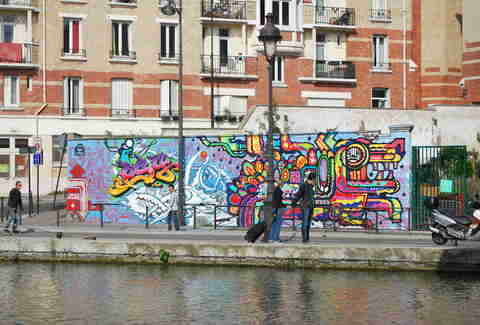 Canal de l'Ourcq street art in Paris, France