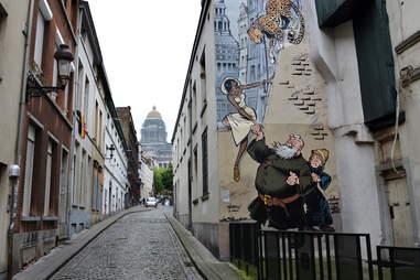 Comic strip walk street art in Brussels, Belgium