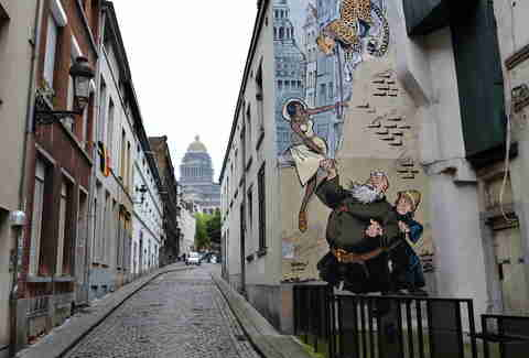 Comic strip walk street art in Brussels, Belgium
