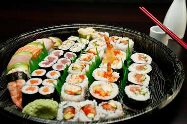 platter of assorted sushi