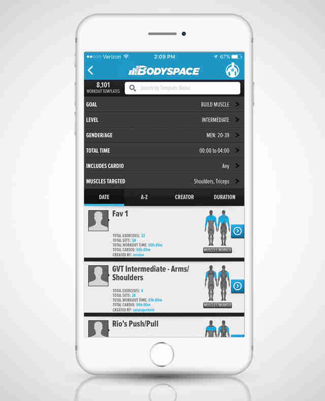 screenshot of Bodyspace app on iPhone 6s