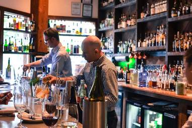 Bartenders making drinks