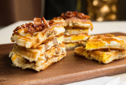 Thrillist recipe waffle breakfast sandwich