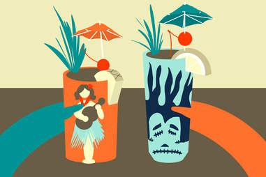 Jason Hoffman Illustration of a couple having tiki drinks