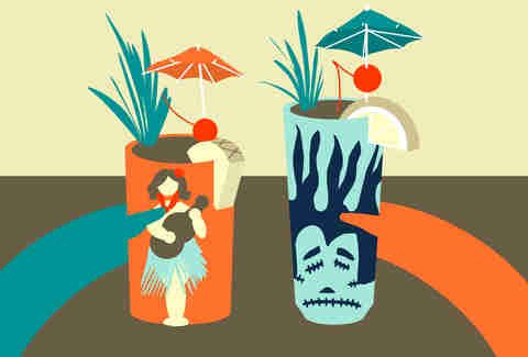 Jason Hoffman Illustration of a couple having tiki drinks