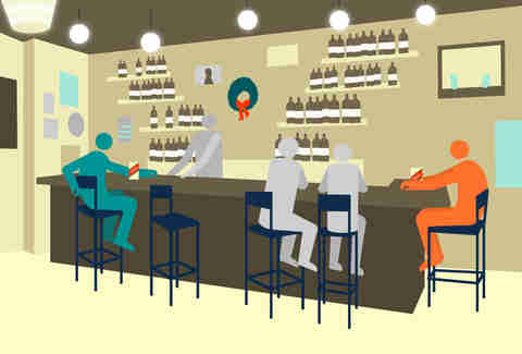 Jason Hoffman illustration of an ex catching a glimpse of a former partner at the end of the bar