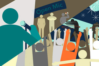 Jason Hoffman illustration of people at open mic and different event hula hooping
