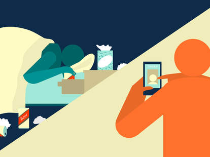 Illustration of man swiping right on Tinder by Jason Hoffman