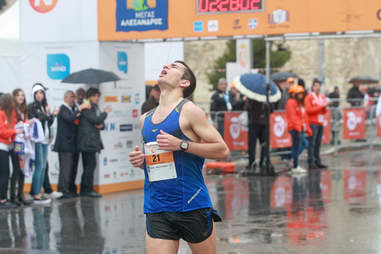 marathon runner almost at the finish line