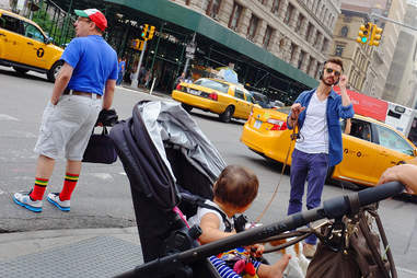 Stroller on sidewalk in NYC