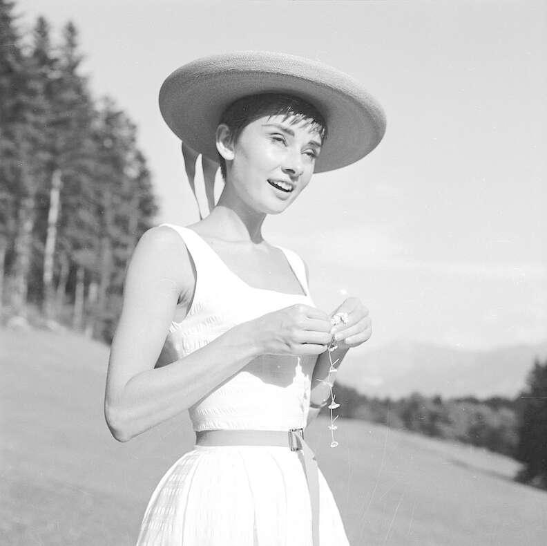 Audrey Hepburn outside