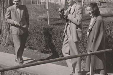 Robie Macauley with Arthur Koestler and Flannery O'Connor at Amana Colonies in Iowa