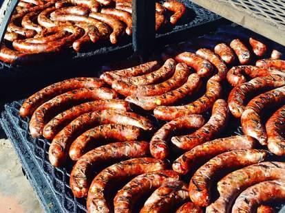 Smokey Denmark's best BBQ in Austin sausage