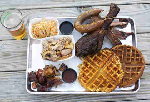Arrogant Swine, mac and cheese waffle, barbecue