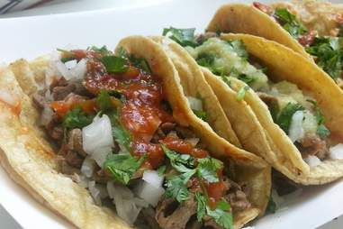 soft shell tacos with toppings from Chavo's Tacos