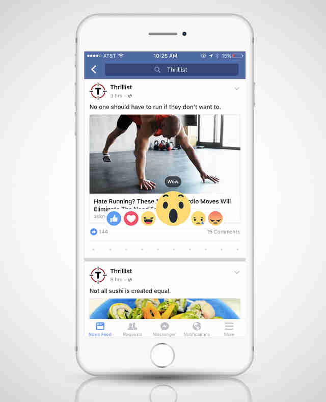 screenshot of Facebook Reactions on iPhone 6s