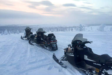 Snowmobile tour in Lapland.