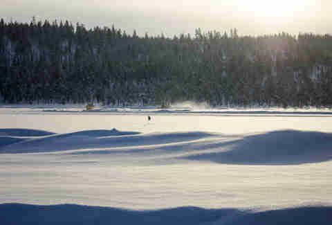 Snow plows on a frozen lake? Only in Finland