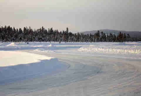 A frozen test track in Ivalo, Finland