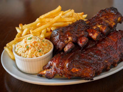prok rib back, french fries, coleslaw, barbecue