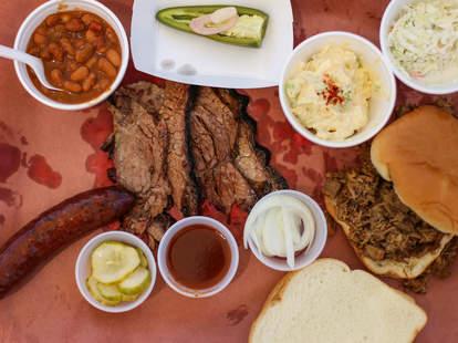 Kerlin's BBQ platter in Austin, Texas