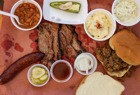 Kerlin's BBQ platter in Austin, Texas