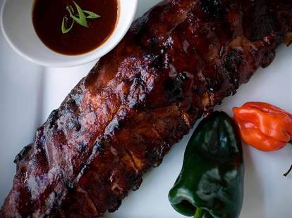 rack of ribs from Red Smoke Barbecue