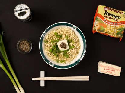 truffle ramen, chopsticks, chef 10 minute meals