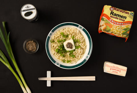 truffle ramen, chopsticks, chef 10 minute meals