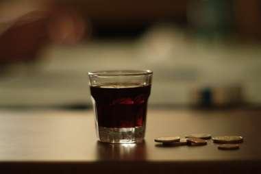 Shot glass full of Jagermeister