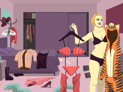 Jason Hoffman illustration of female picking out an outfit for Berlin sex club night