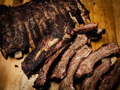 smoked beef ribs at Slows Bar B Q