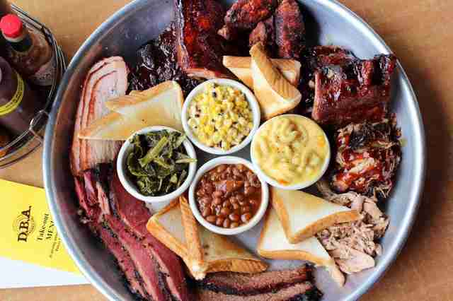 bbq platter with meats and sides from dba barbecue atlanta