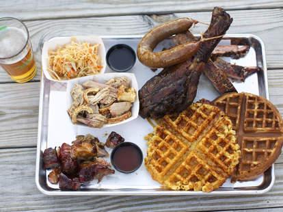 arrogant swine barbecue, mac and cheese waffle