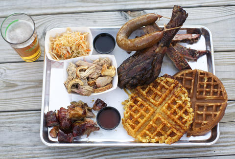 arrogant swine barbecue, mac and cheese waffle