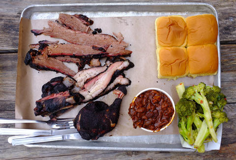 tray of barbecue at Fette Sau