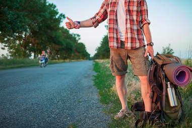 backpacker hitchhiking