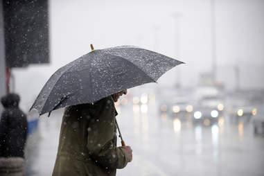 man with umbrella in the rain