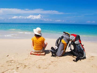 backpacker on a beach