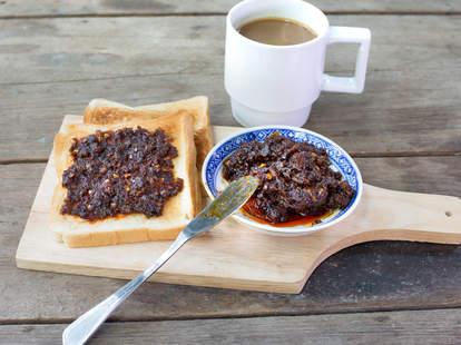 breakfast, fried chili paste