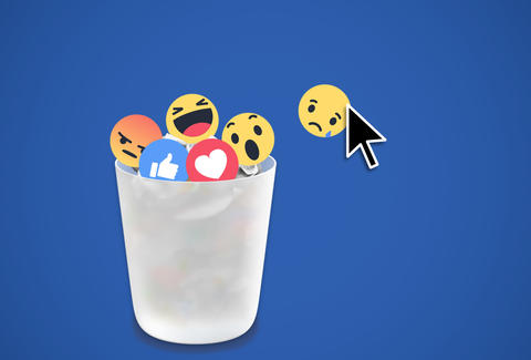 facebook reactions in a trash can