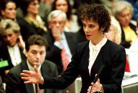 Marcia Clark curly hair at OJ Simpson trial