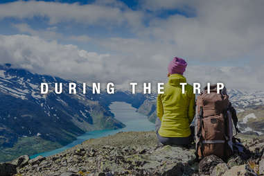 Backpacker hiking in Norway during her trip