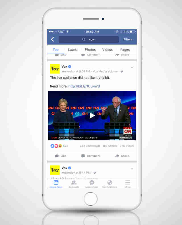 iPhone screenshot of Facebook news story debate