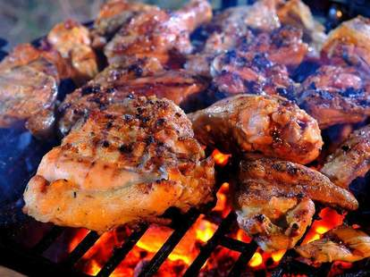 chicken grilling at King Ribs