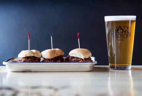 Crazy Mountain Tap Room BBQ sliders and beer